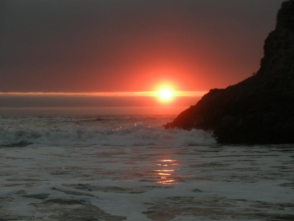 The sunset just south of Brookings at the mouth of the Winchuck River.